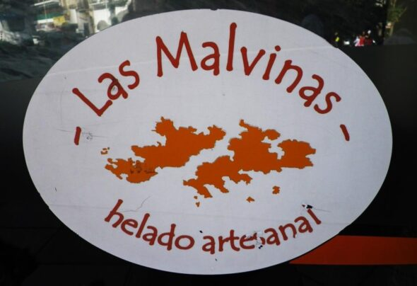 Banner, bakery, bus, library… Four reminders of the Falklands/Malvinas