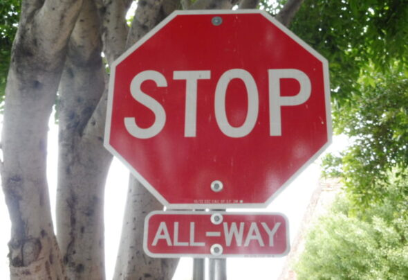 Who has right of way at a San Francisco 'All Way' stop sign?