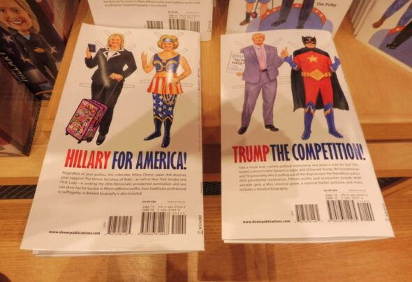 Donald and Hilary fight it out in Washington DC gift shops…