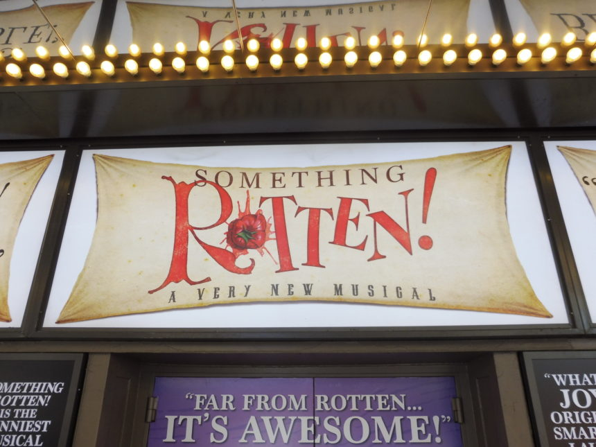 USA New York Something Rotten sign