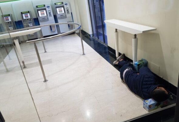 Sleeping at ATM's in Buenos Aires