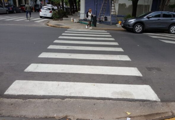 Crosswalks in Argentina are lovely painted road decorations
