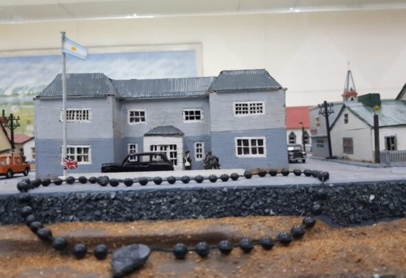 A model town with rosary beads on a subway